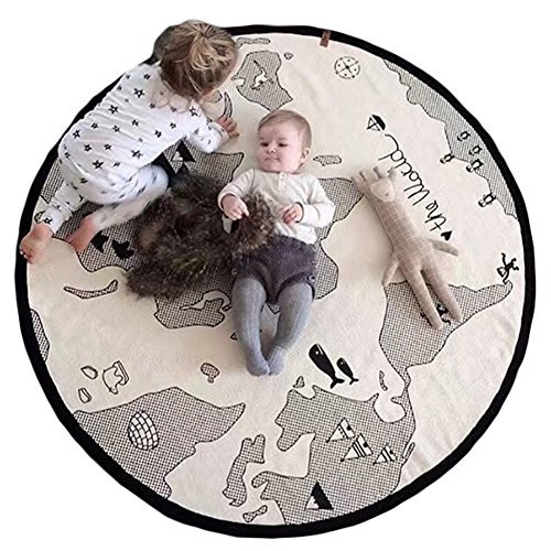Finebaby Baby Crawling Mats World Map Pattern Game Blanket Floor Playmats Animal Early Education Round Carpet Children's Room Decoration Diameter 53'' Beige (Canvas Floor Mats)