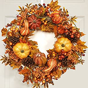 Fall Harvest Wreath with Pumpkins, Gourds, Berries WR4637 24
