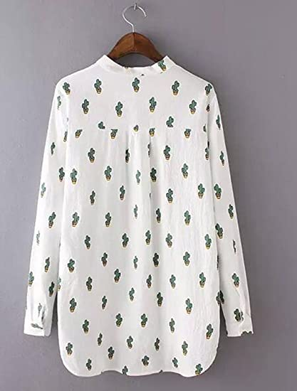 9d6bb96049a OUCHI Women Long Sleeve Lapel Collar Top Blouse Cactus Printed Button Shirt  at Amazon Women's Clothing store: