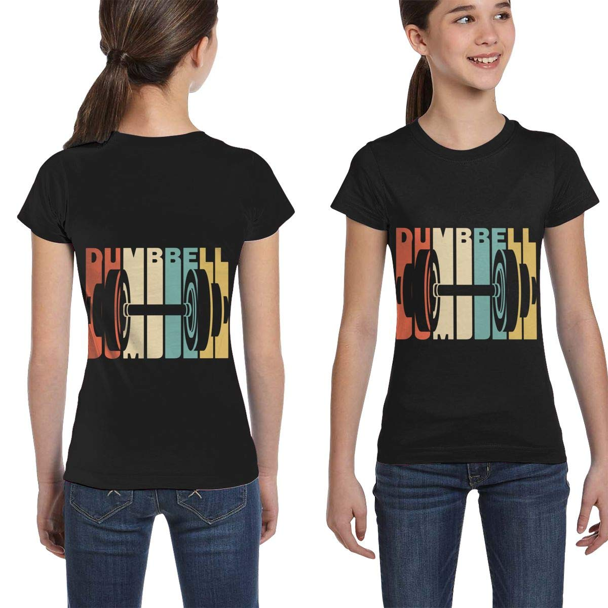 Girls Short Sleeve Retro Style Dumbbell Silhouette T-Shirts Casual Blouse Clothes XS-XL