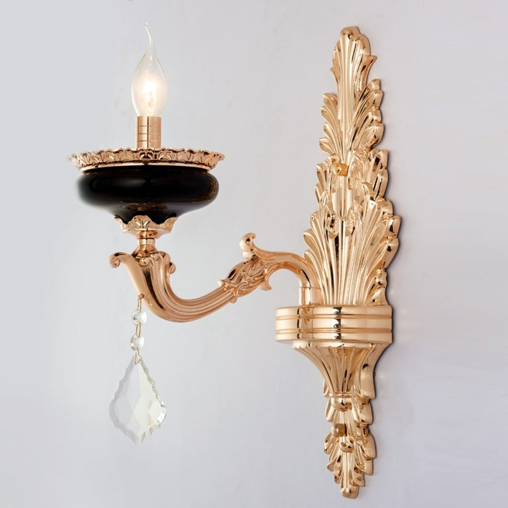 HOMEE Wall lamp- european candle zinc alloy crystal wall lamp living room tv wall wall lamp bedroom aisle corridor wall lamp (style optional) --wall lighting decorations,Single head