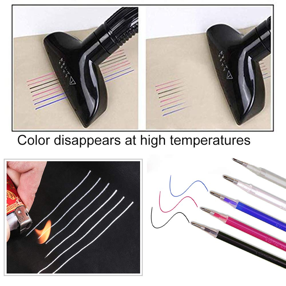 #1 40 Pieces Heat Erasable Refills High Temperature Vanishing Disappearing Fabric Marker Pen for Patchwork Fabric PU Leather Mark Sewing Tool