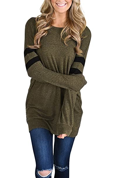 28b06dcdd1f856 PinkWind Women s Loose Long Sleeve Striped Sweater Sweatshirt Dress S Army  Green