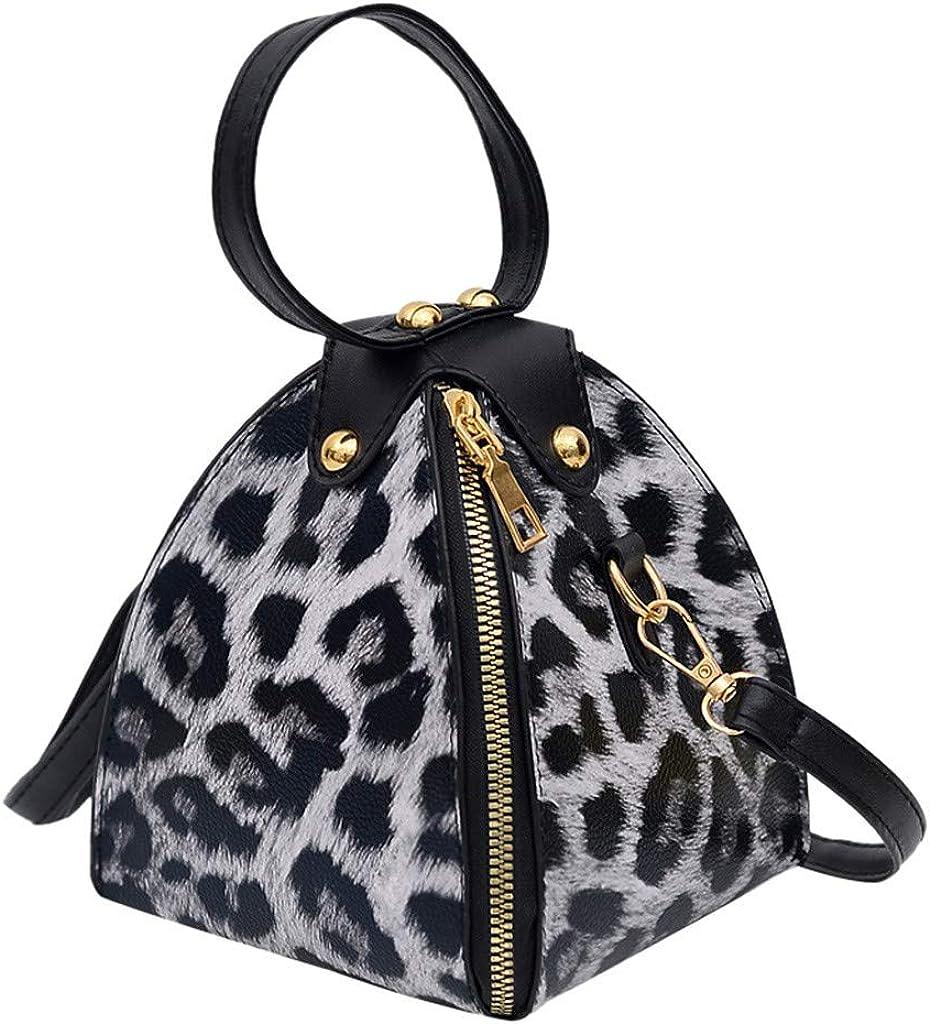 "LINKIOM Fashion Women's Leopard Print Large Capacity PU Leather Shoulder Bag Messenger Bag Crossbody Phone Bag Handbag (C, 15cm(L) x15cm(W) x18cm(H)/5.90(L) x5.90(W) x7.08(H)"")"