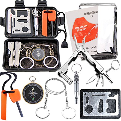 EMDMAK Survival Kit Outdoor Emergency Gear Kit for Camping Hiking Travelling or Adventures (Black) (Best Hiking Gear For Beginners)