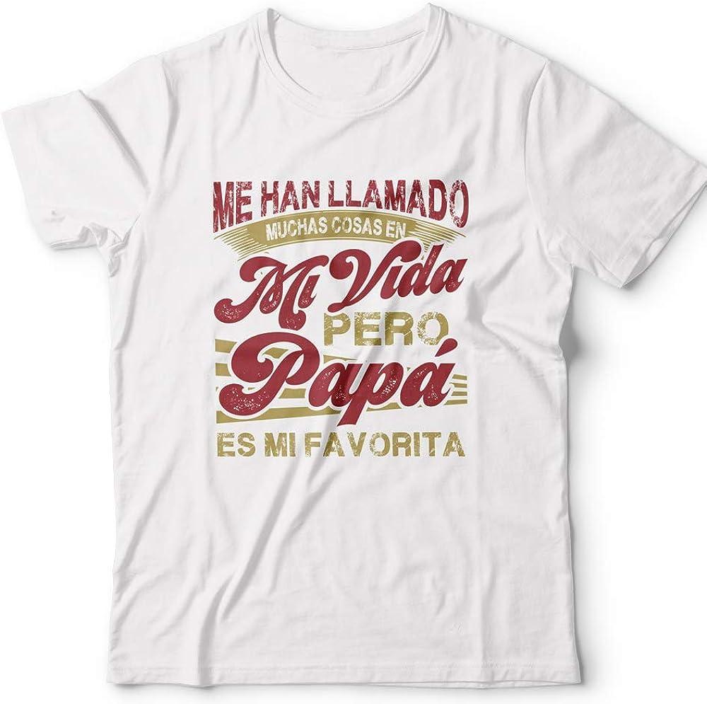MUGFFINS Camiseta Papá Palabra Favorita Regalos Divertidos con Mensajes Graciosos/Día del Padre/Hombre Mujer Manga Corta Blanca L: Amazon.es: Ropa y accesorios