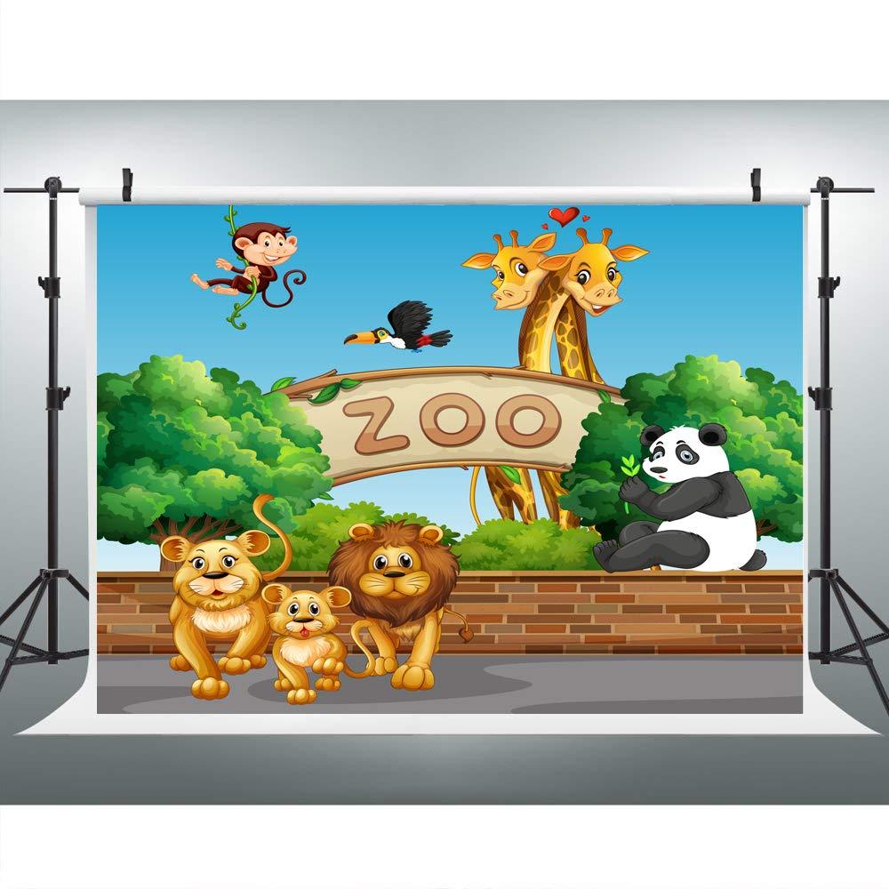 Jungle Zoo ベビーアニマルバースデーバナー パーティーデコレーション 背景幕 子供用 7 x 5 写真背景 テーブルトップ バナー 子供用 ロールサポート   B07JHKVNFG