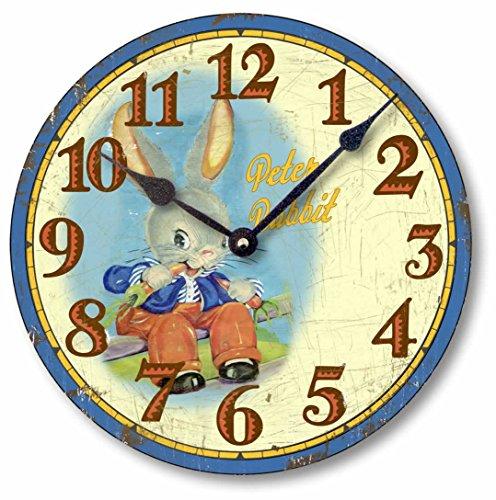 Fairy Freckles Studios Item C5022 Vintage Style 10.5 Inch Peter Rabbit Children s Clock