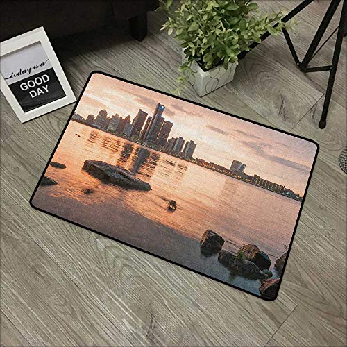 Buck Haggai Carpets Indoor/Outdoor Area Rugs Detroit,Idyllic Sunset View with High Rise Buildings Riverfront Rocks Calm Peaceful, Coral Dark Brown,for Daily Use-Stylish Floor Mat -