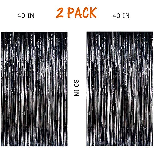 MeiGuiSha 2pcs 40in x 80in Photo Backdrop for Halloween Decor-Metallic Tinsel Foil Fringe Curtains Party Decorations(Black) -