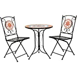 Charles Bentley Terracotta Mosaico 2 posti Bistro set patio Mobili da giardino all'aperto - Orange & Blu