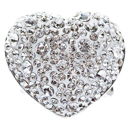 Face Stretch Fashion Ring (Bubbly Crystal Rhinestone Heart Stretch Adjustable Ring Valentine Silver Clear)