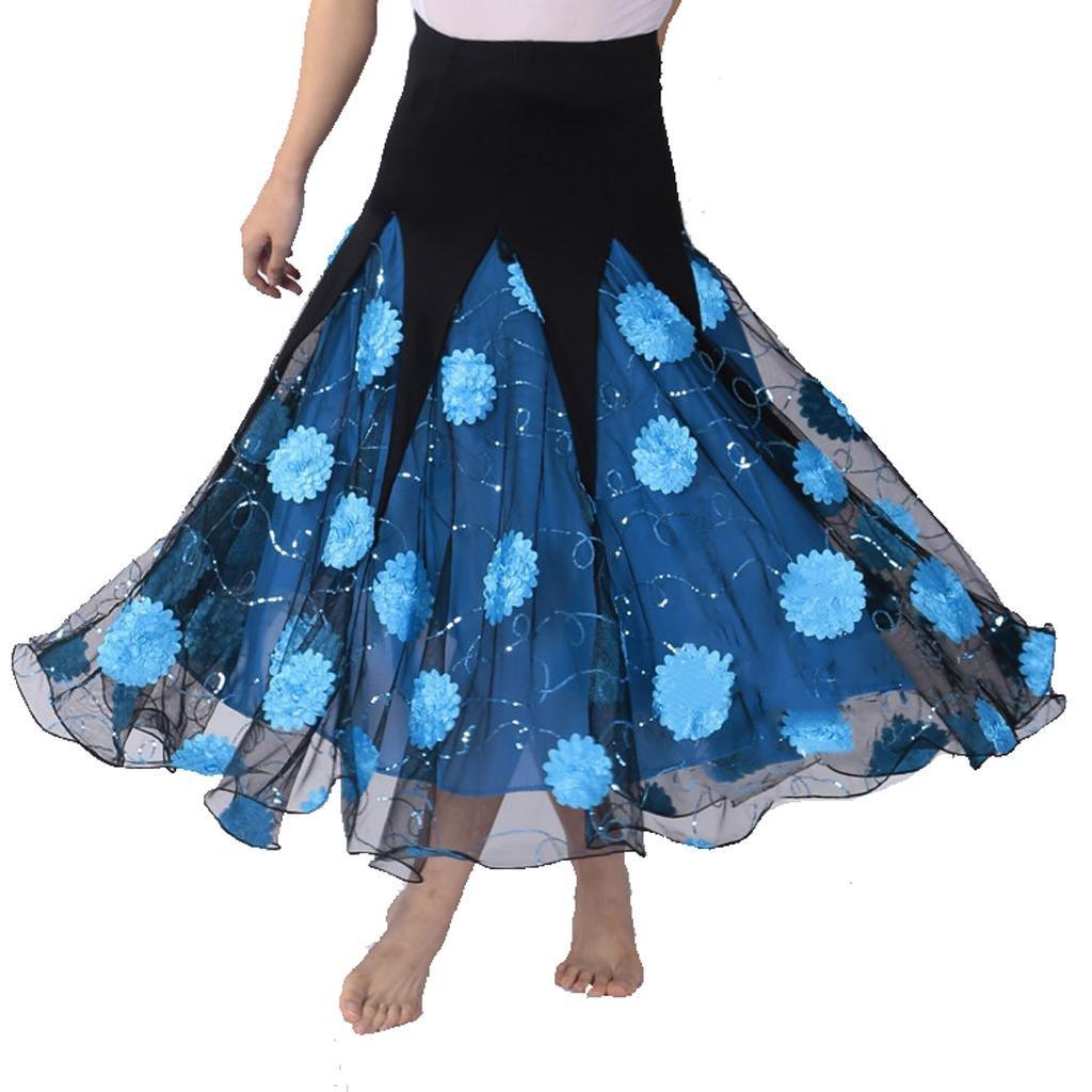 bleu f Wgwioo Long Dance Jupe Latine Fleurs Concours De Danse Moderne jupe Party jupe Ball Room Jupe De Valse Jupe De Femme