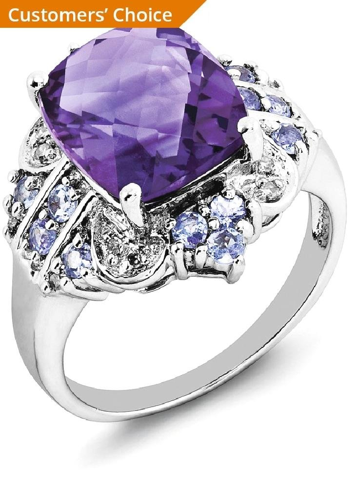 ICE CARATS 925 Sterling Silver Purple Amethyst Blue Tanzanite Diamond Band Ring Size 6.00 Stone Gemstone Fine Jewelry Gift Set For Women Heart by ICE CARATS (Image #2)