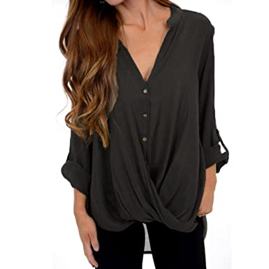 bc6a712d252731 Women s Casual Roll Long Sleeve Sexy V-Neck Wrap Front Button Shirts for  Ladies Teen