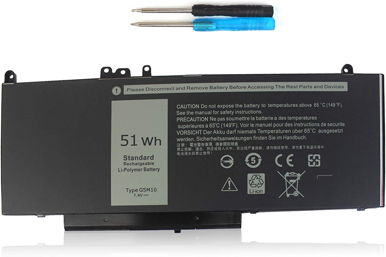 G5M10 Laptop Battery 7.4V 51Wh Compatible with Dell Latitude E5450 E5550 5550 5450 Notebook 8V5GX R9XM9 WYJC2 1KY05 0WYJC2 TXF9M 0TXF9M R0TMP 79VRK HK6DV 0HK6DV,Precision 3510