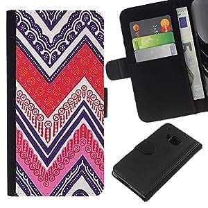 All Phone Most Case / Oferta Especial Cáscara Funda de cuero Monedero Cubierta de proteccion Caso / Wallet Case for HTC One M9 // Cards Poker Ink Purple Pattern