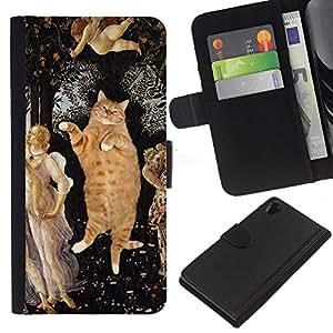 eJoy---La carpeta del tirón la caja de cuero de alta calidad de la PU Caso protector - Sony Xperia Z2 D6502 - --Orange Fat British Shorthair House Cat