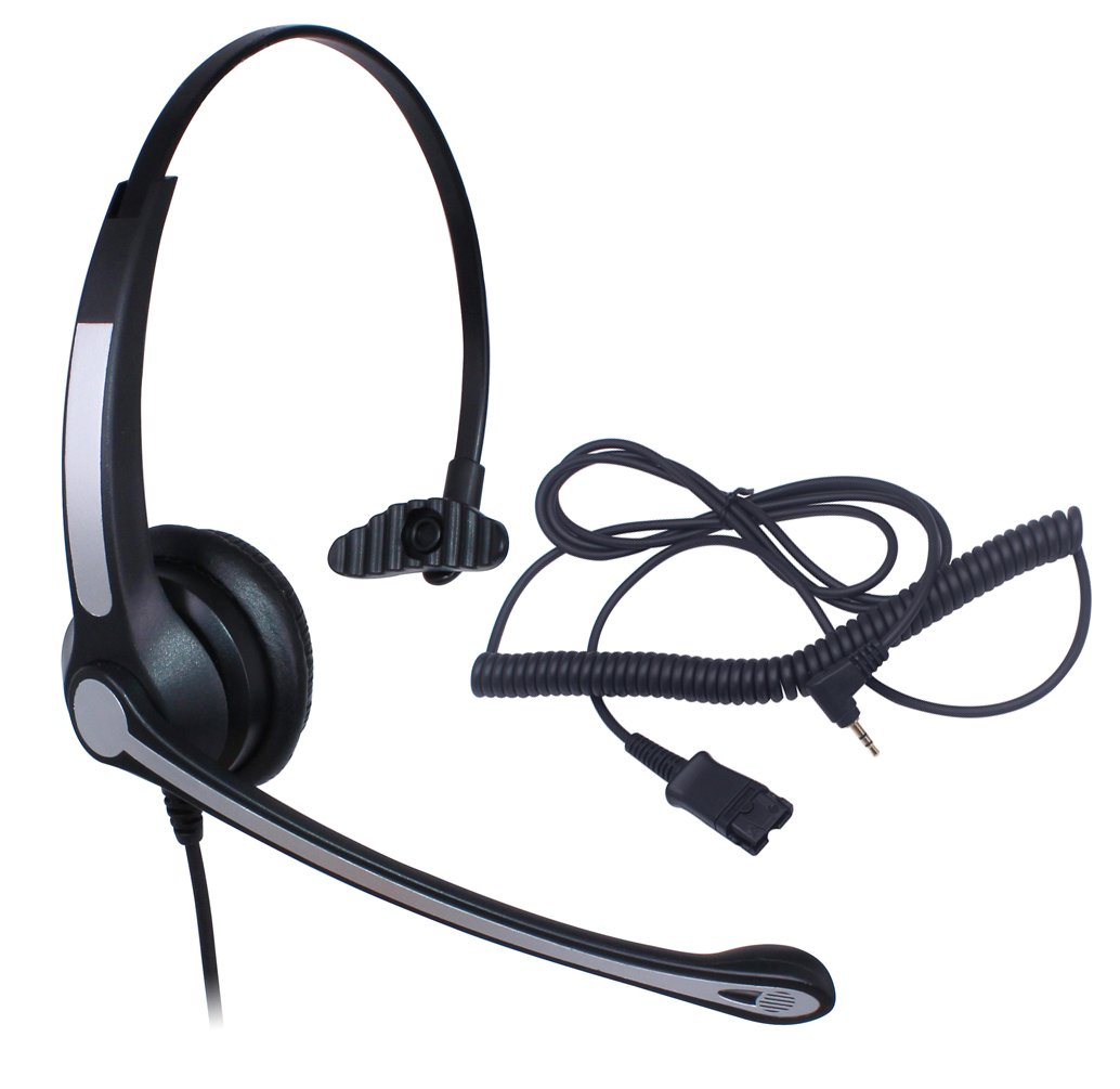Audicom 2.5mm Call Center Headset with Mic + Quick Disconnect for Telephone Panasonic KX-NT136 KX-NT343 KX-NT346 KX-NT366 KX-T7603 IP and Cordless Phones with 2.5mm Headphone Jack (700RQD25D)