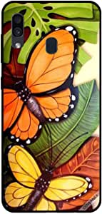 For Samsung Galaxy A30 Case Black & Orange Butterflies