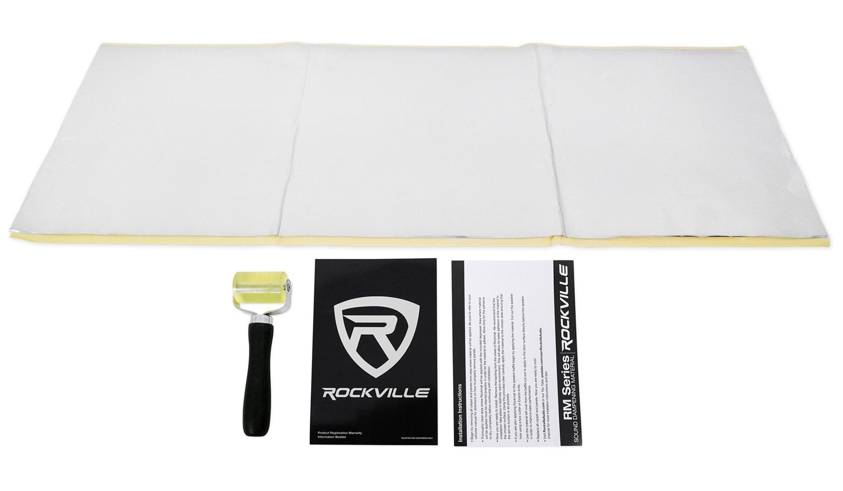 Rockville RM12 Rockmat 12 Sq. ft. Sound Dampening Car Audio Door Kit 72 mil + Roller