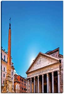 Hitecera Obelisk Della Porta Fountain Pantheon Piazza Rotunda Night Rome Italy Room Decor for Women,036131 Room Decorations for Bedroom,12 x16in