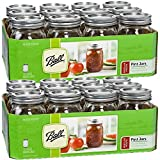 Jarden 12 Ball Mason Jar with Lid - Regular Mouth - 16 oz by (2 - Packs of 12)
