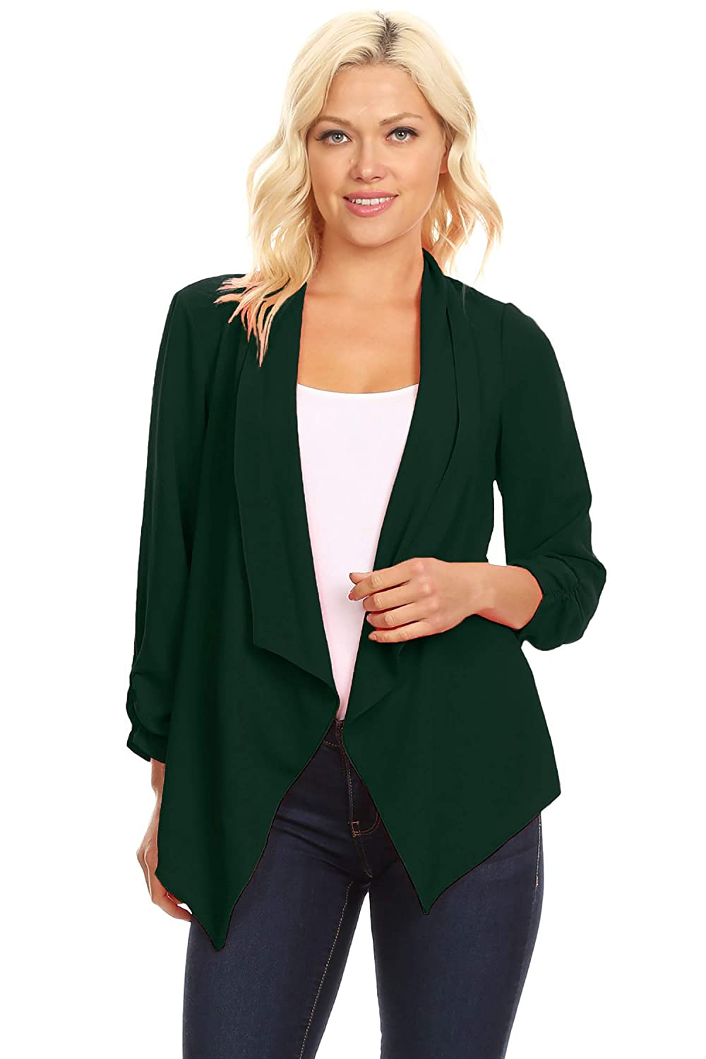 Women's Casual Style Open Draped Ruched Sleeve Loose Cardigan/Made in USA