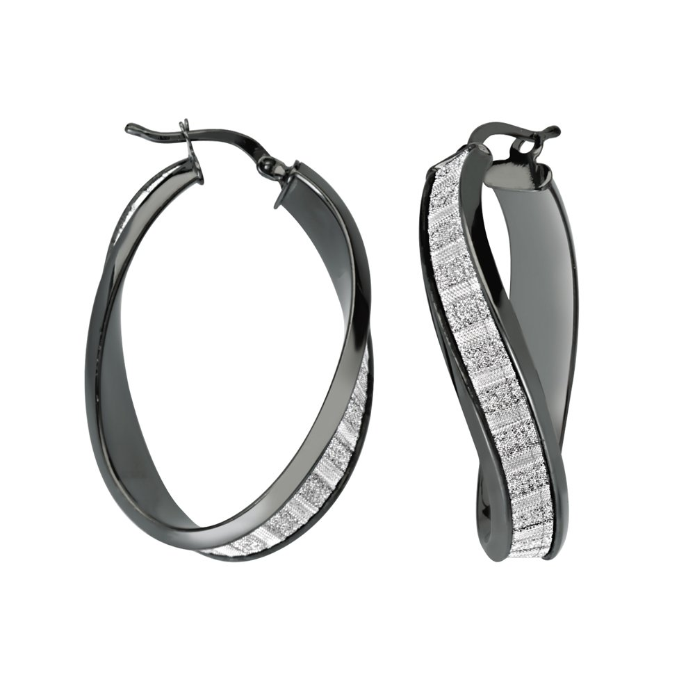 Lightz Coll Baguette Glitter Wave Hoop Hoop Earrings