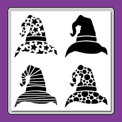 Amazon Com 12 X 12 Inch 4 In 1 Witch Wizard Hats Stencil Template Halloween Stripes Stars Circles Plain