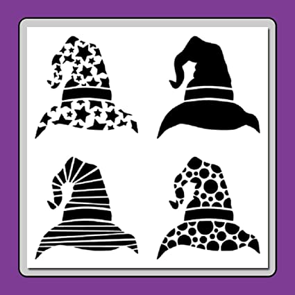 amazon com 12 x 12 inch 4 in 1 witch wizard hats stencil template