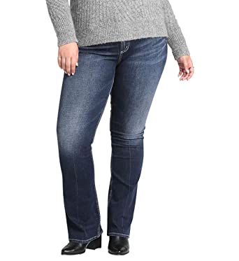 654c0593 Silver Jeans Co. Women's Plus Size Avery Curvy Fit High Rise Slim Bootcut  Jeans,