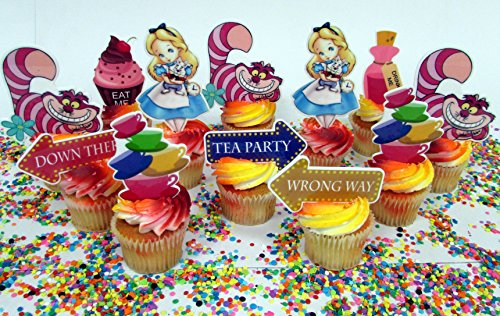 Alice in Wonderland Themed Birthday Cupcake Toppers Featuring Alice, Cheshire and More!