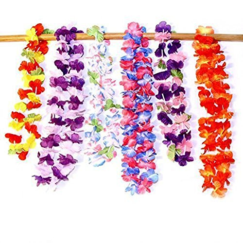 Dazzling Toys Hawaiian Ruffled Simulated Silk Flower Leis- Pack of 24 (D124/2)