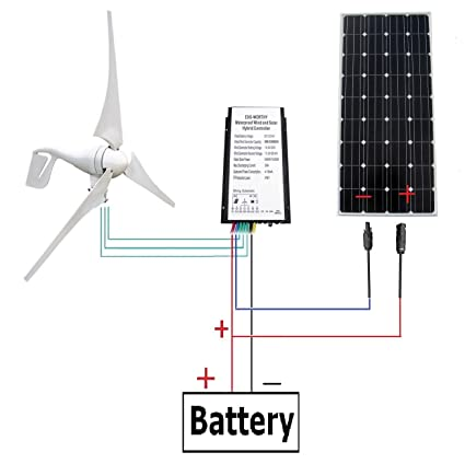 ECO-WORTHY 400 Watt Wind Turbine Generator with 160W Monocrystalline Solar  Panel Off Grid Kit for 12 Volt Battery Charging