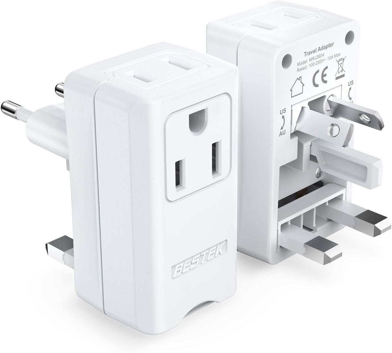 UK AU EU To US Universal Travel AC Power Plug Socket Adapter Converter 110-250V