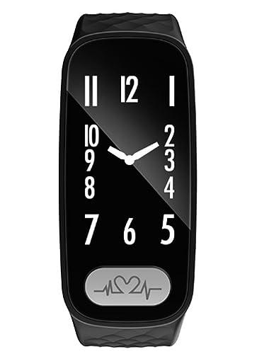 de gama alta de la aptitud de seguimiento de reloj analógico negro inteligente con monitor de ritmo cardíaco, y recordando la llamada para ios android ...