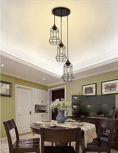 Diseño moderno Lámpara colgante Trio redondean jaula hierro ...