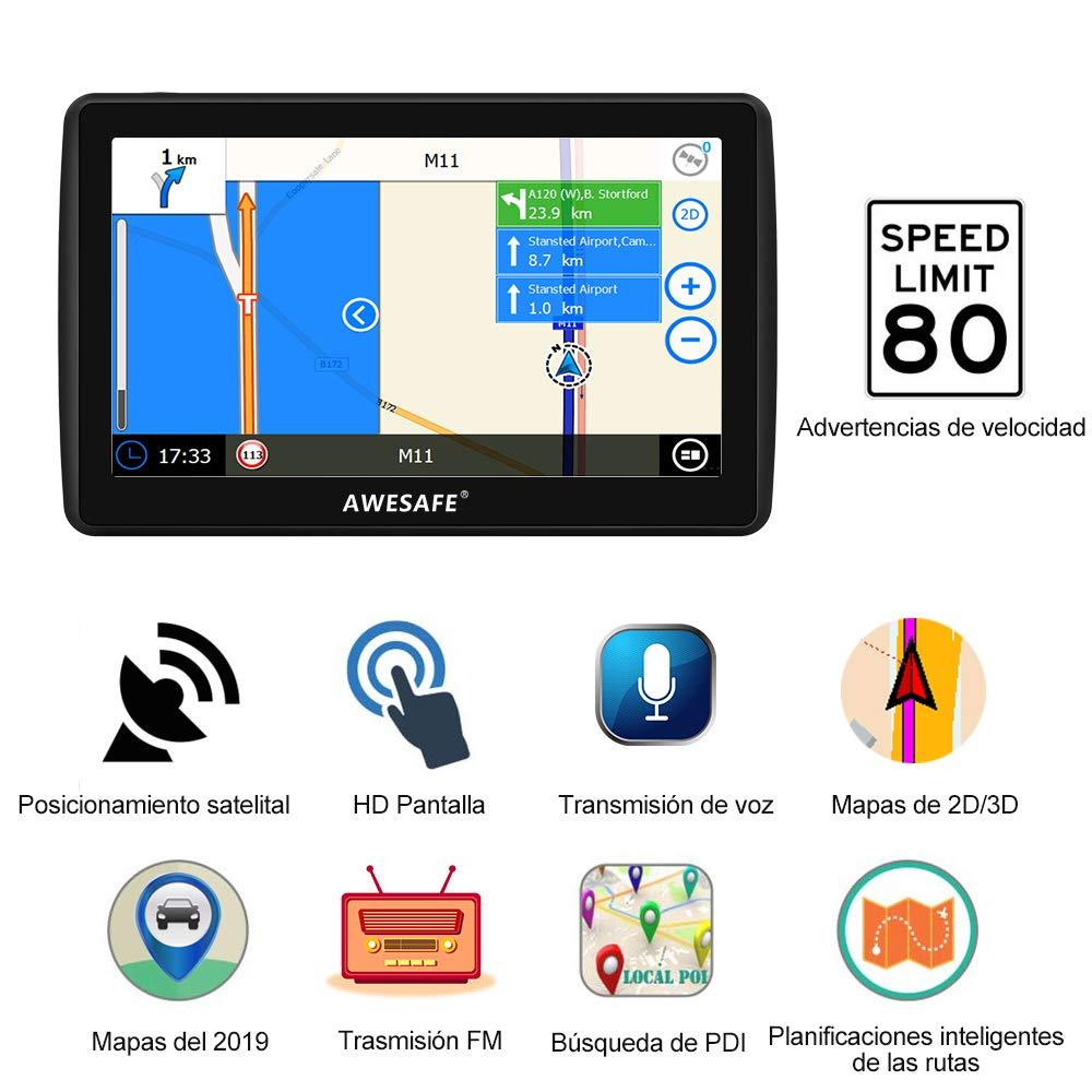 AWESAFE Navegador GPS para Coches de 7 Pulgadas con Bluetooth con 22 Tipos PDIs y Planificaciones Inteligentes de Rutas con Mapas Recientes