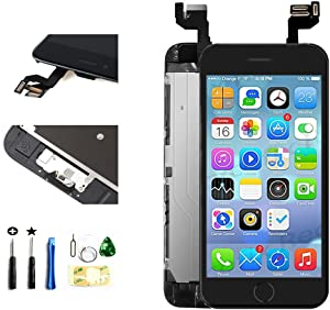 with Front Camera Facing Proximity Sensor Earpiece Speaker Home Button Full Assembly Digitizer Display LCD Screen Replacement for iPhone 6s 4.7 Inch Black