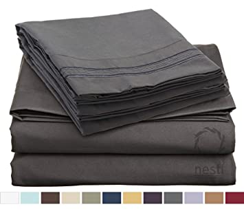 HIGHEST QUALITY Bed Sheet Set, #1 On Amazon, King Size, Charcoal Stone