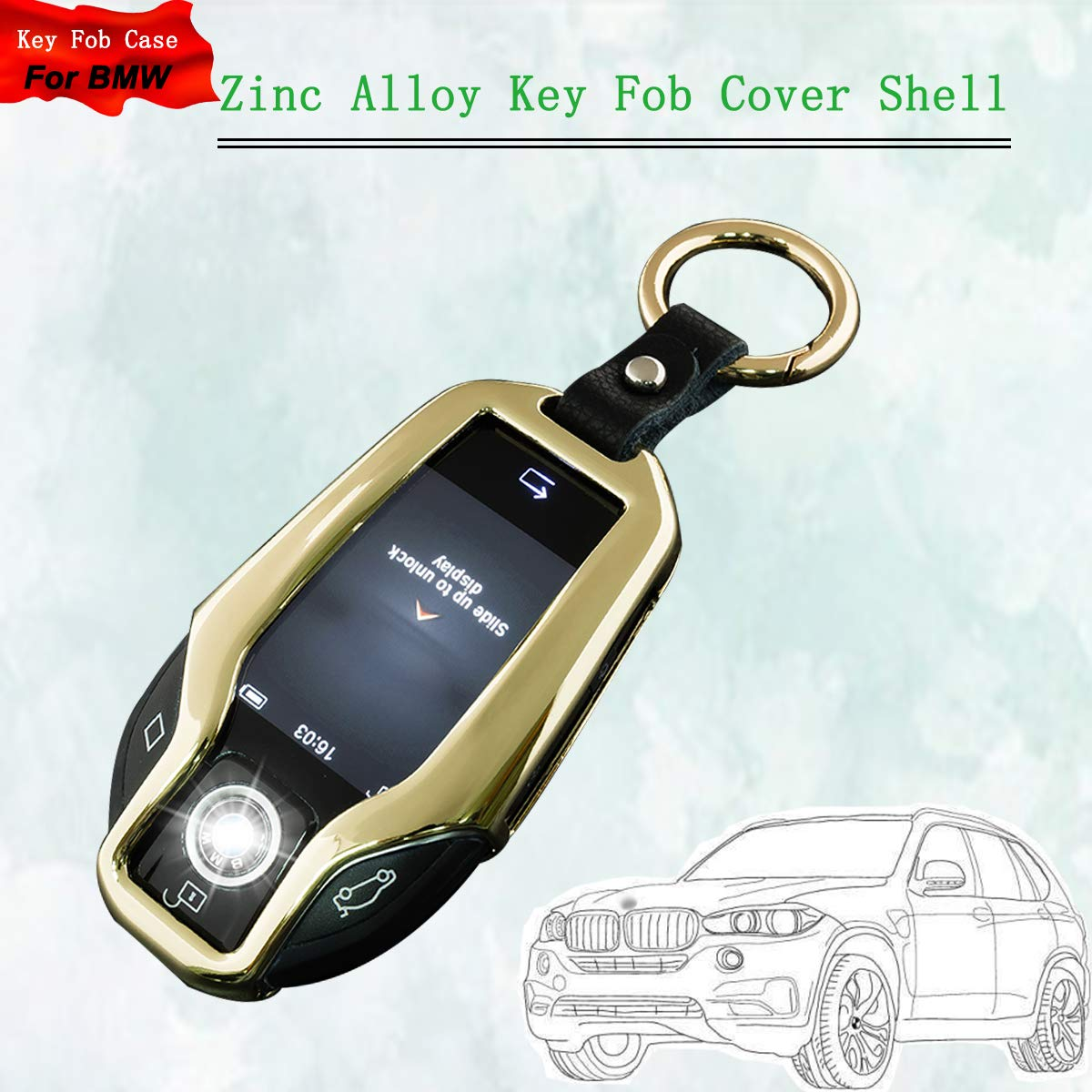 Amazon com: Zinc Alloy Remote Smart Key Fob Case Cover with Key