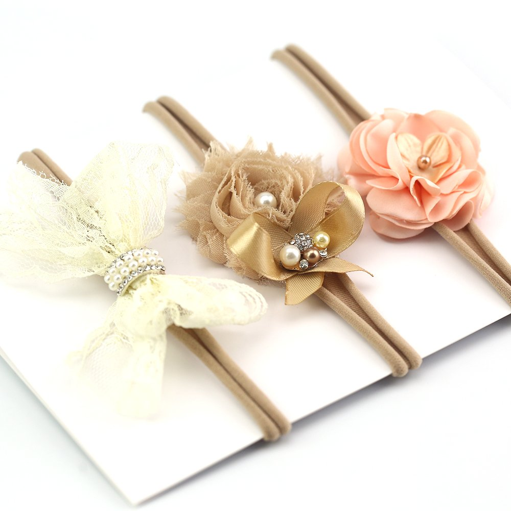 Lovemyangel 3 PACK Newborn Baby Girl Hair Bows with Soft Nylon Headbands Set (KHAKI)