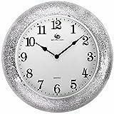 BABYQUEEN Living Room Wall Clock Fashion Personality Creative Metal Modern Mute Mosaic Clock Silver White