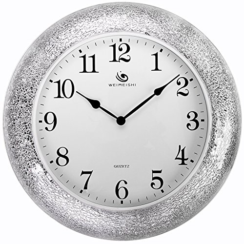 Jedfild The living room wall clock stylish personalized creative metal modern mute mosaic clock, SILVER WHITE (Mosaic White Silver)