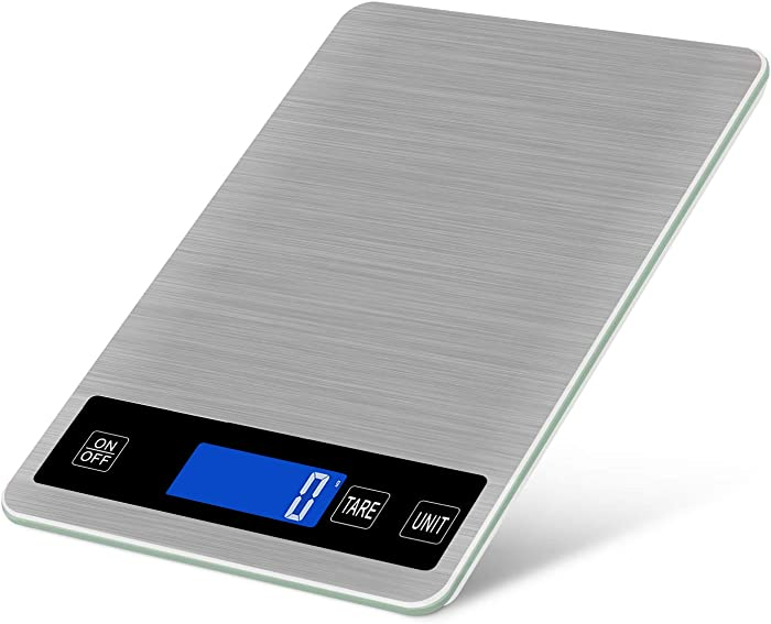 5kg/11lb Digital Kitchen Scale USB Rechargeable Food Scale, 0.04oz/1g Division, Touch Sensor, Back-Lit LCD Display, Stainless Steel Electric Cooking Scale with Tare & Auto Off Function (Silver)