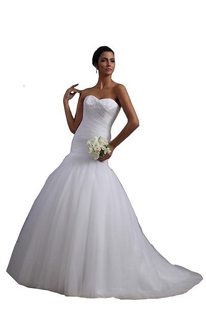 Winey Bridal Mujer de sirena, corsé de corazones corte tren para vestidos de boda Marfil
