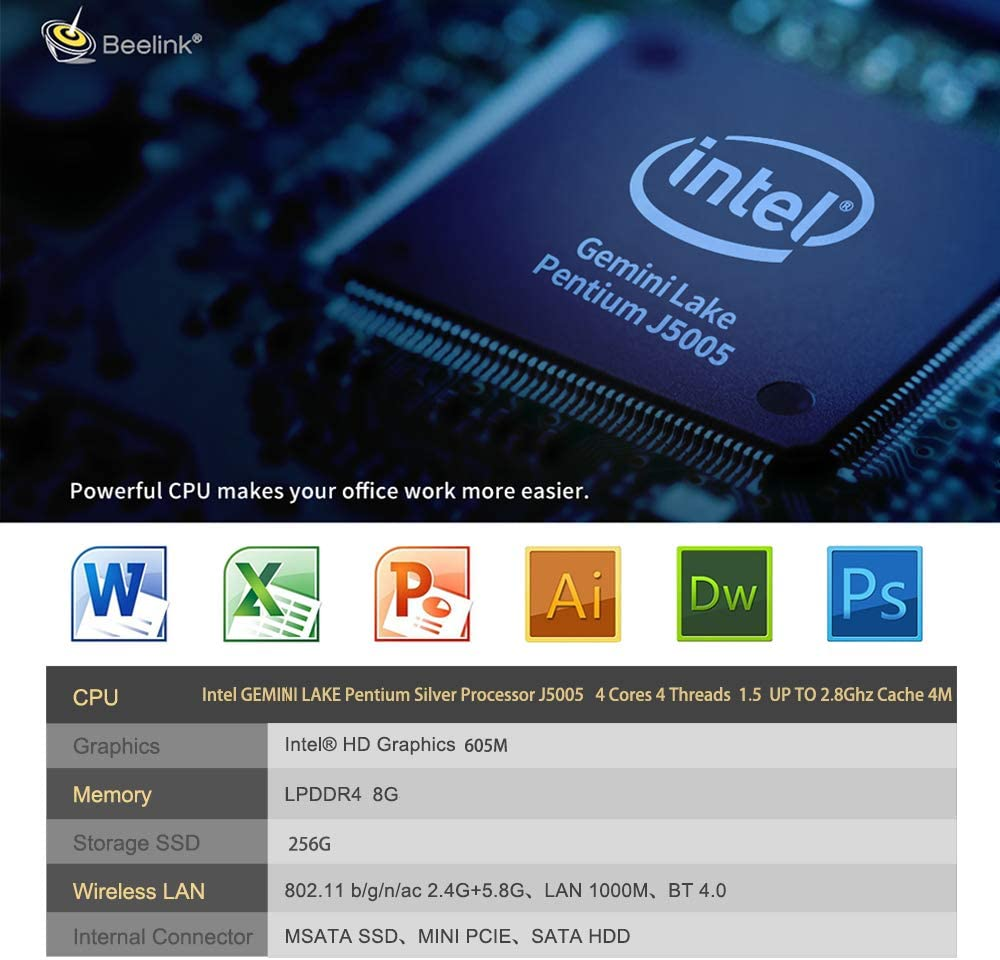 Beelink X55 Windows 10 Mini PC, Intel Gemini Lake Pentium J5005 ...