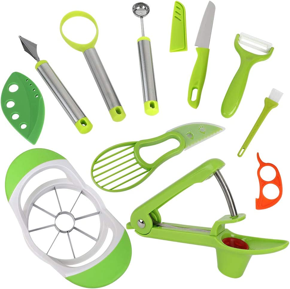 Fruit Slicer Peeler Cutter Set, Cherry Pitter Stainless Steel Apple Slicer and Corer, Avocado Slicer Cutter Tool, Melon Baller and Fruit Scoop Set, Kitchen Fruit Tools Easy to Use Guaranty Food Safe