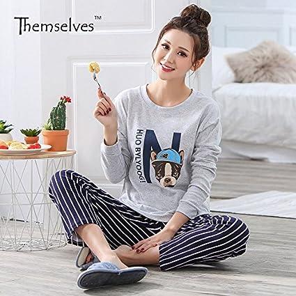 MH-RITA Pijama Mujer Otoño e Invierno Ocio Pantalones Long-Sleeved versión coreana de